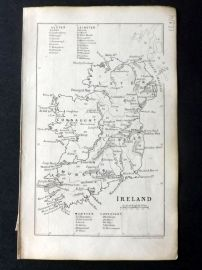 Cornwell & Dower 1849 Antique Map. Ireland